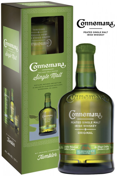 Connemara Peated Single Malt Irish Whiskey mit gratis Tumblerglas
