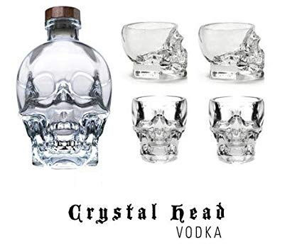 Vodka Crystal Head 0,7 L - coffret cadeau comprenant 4 verres à liqueur